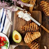 Bruschetta with feta cheese, tomatoes, avocado. Ingredients for Royalty Free Stock Image