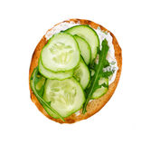 Bruschetta with fresh cucumbers and arugula Royalty Free Stock Photography