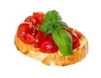 Bruschetta with fresh tomato and basil Stock Photos