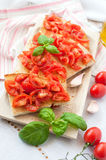 Bruschetta with fresh tomato and basil Stock Photos