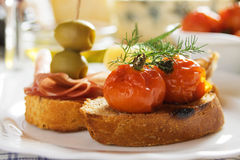 Bruschetta with fried tomato Royalty Free Stock Photo
