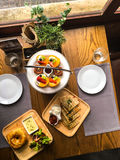 Bruschetta with fruit, toast with vegetables, sandwiches for bre Royalty Free Stock Photos