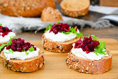 Bruschetta with Goat Cheese, Arugula and Beet Royalty Free Stock Photo