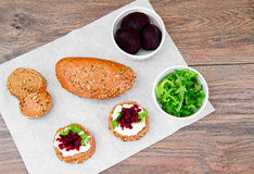Bruschetta with Goat Cheese, Arugula and Beet Royalty Free Stock Image