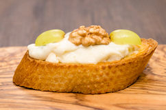 Bruschetta with gorgonzola cheese, walnut and grapes Stock Photography