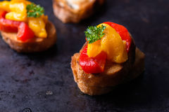 Bruschetta with grilled bell pepper Royalty Free Stock Image