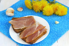 Bruschetta with ham. A sub sandwich with ham Shallow DOF royalty free stock images