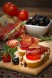 Bruschetta with ham Royalty Free Stock Photos