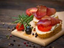 Bruschetta with ham Royalty Free Stock Photography