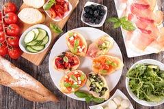 Bruschetta and ingredient Stock Image