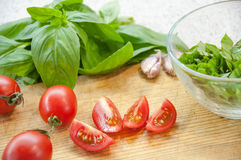 Bruschetta Ingredients for preparation Stock Image