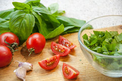 Bruschetta Ingredients for preparation Royalty Free Stock Photography