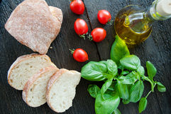Bruschetta Ingredients for preparation Royalty Free Stock Photos