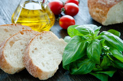 Bruschetta Ingredients for preparation Royalty Free Stock Photo