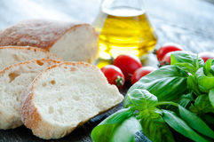 Bruschetta Ingredients for preparation Royalty Free Stock Image