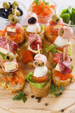 Bruschetta, italian canape Royalty Free Stock Images