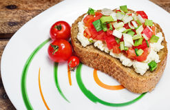 Bruschetta ( Italian Toasted Garlic Bread ) with tomato & cheese Royalty Free Stock Photography