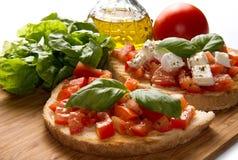 Bruschetta italiano imagem de stock