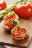 Bruschetta italiano con la cebolla y la albahaca de los tomates Foto de archivo
