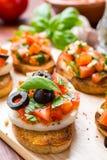Bruschetta italiano dell'aperitivo Fotografia Stock