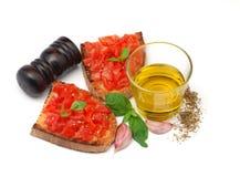 Bruschetta italiano do tomate Imagens de Stock Royalty Free