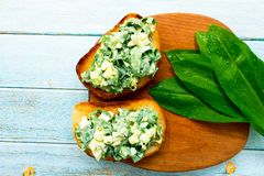 Brusquets with ramson and eggs stock image