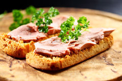 Bruschetta with liver pate Royalty Free Stock Photography