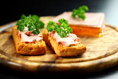 Bruschetta with liver pate Stock Photo