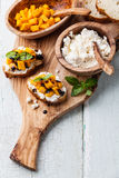 Bruschetta with mango Royalty Free Stock Image