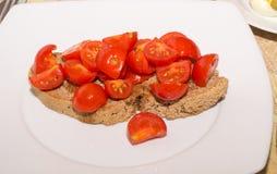 Bruschetta med tomater och olja Fotografering för Bildbyråer