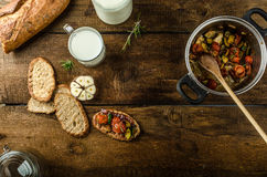 Bruschetta with Mediterranean vegetables Royalty Free Stock Photography