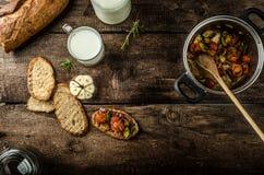 Bruschetta with Mediterranean vegetables Stock Photo