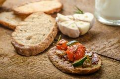Bruschetta with Mediterranean vegetables Stock Images