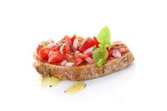 Bruschetta met olijfolie. Royalty-vrije Stock Afbeeldingen
