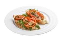 Bruschetta mit Tomaten lizenzfreie stockfotos