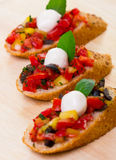 Bruschetta with mozzarella Stock Photo