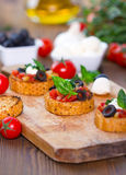 Bruschetta with mozzarella Royalty Free Stock Photography