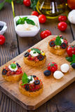 Bruschetta with mozzarella Royalty Free Stock Image