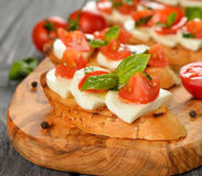 Bruschetta with mozzarella and tomatoes Royalty Free Stock Image