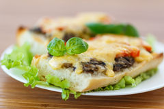 Bruschetta with mushrooms and cheese Stock Photography