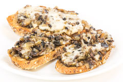 Bruschetta with Mushrooms and Garlic Royalty Free Stock Photography