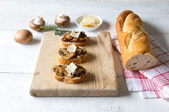 Bruschetta with Mushrooms Stock Image