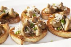 Bruschetta with Mushrooms and Pecorino Stock Images