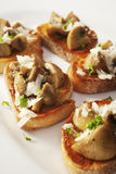 Bruschetta with Mushrooms and Pecorino Stock Photo