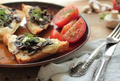 Bruschetta with mushrooms Stock Photography