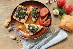 Bruschetta with mushrooms Royalty Free Stock Photo