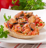 Bruschetta with mussels Stock Photography