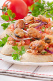 Bruschetta with mussels Royalty Free Stock Images