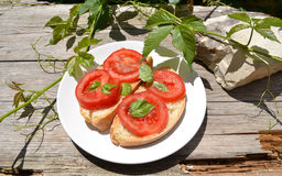 Bruschetta on old wooden table Royalty Free Stock Images