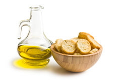 Bruschetta and olive oil Royalty Free Stock Photography